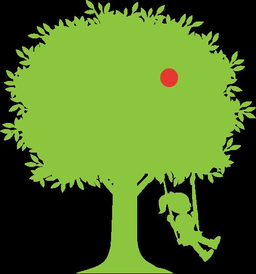木のブランコで遊ぶ少女のイラスト